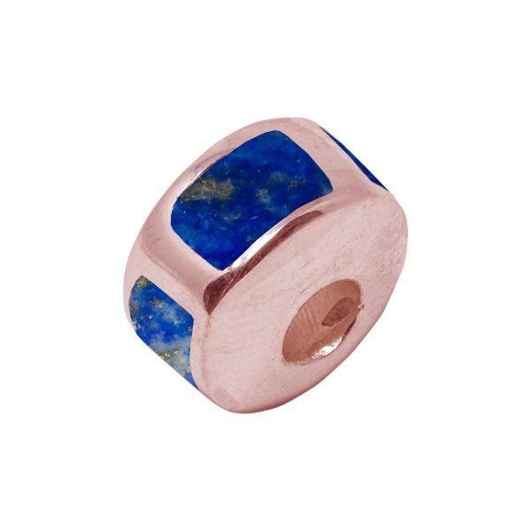 Rose Gold Lapis Bead Charm