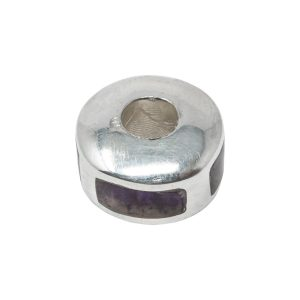 Silver Blue John Pandora Style Bead