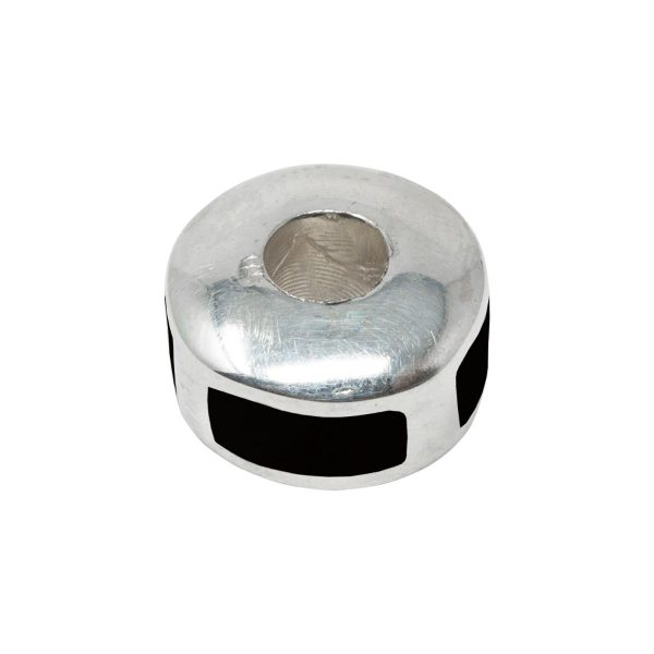 Silver Whitby Jet Bead Charm
