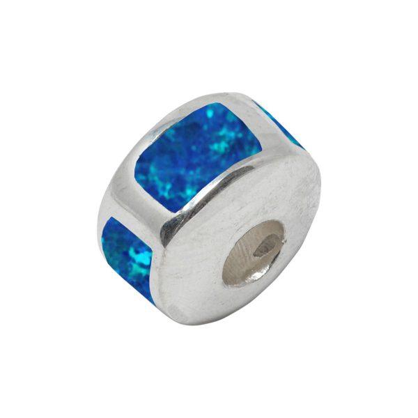 White Gold Opalite Cobalt Blue Bead Charm