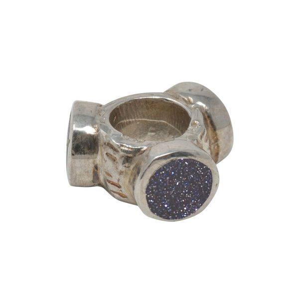 Silver Blue Goldstone Bead Charm
