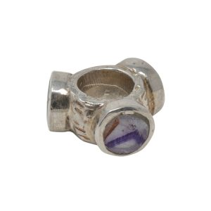 Silver Blue John Round Stone Pandora Style Bead