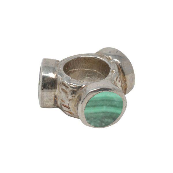 Silver Malachite Bead Charm