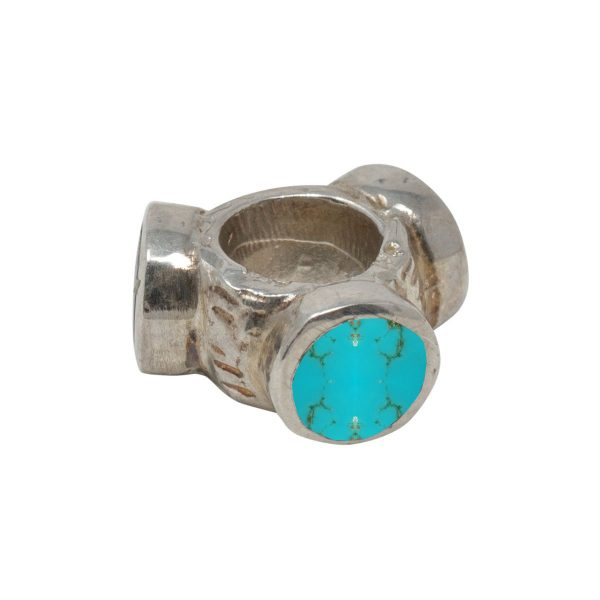 White Gold Turquoise Bead Charm