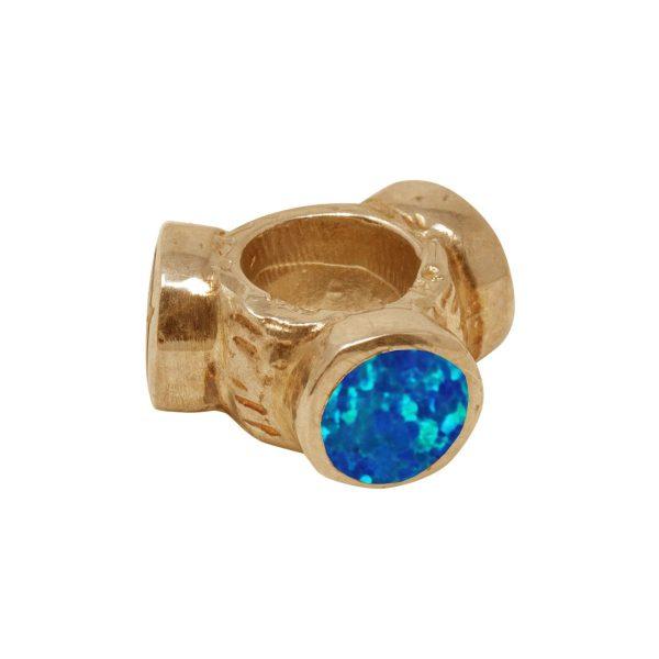 Yellow Gold Opalite Cobalt Blue Bead Charm