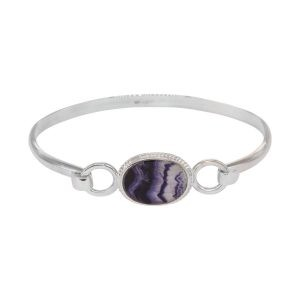 Silver Oval Blue John Bangle Beaded Edge