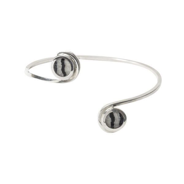 Silver Blue John Round Stone Twist Bangle