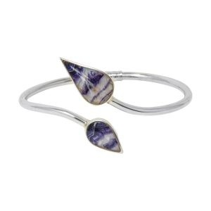 Silver Blue John Teardrop Shaped Double Stone Twist Bangle