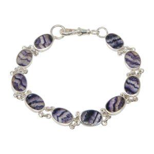 Silver Oval Stone Blue John Bracelet