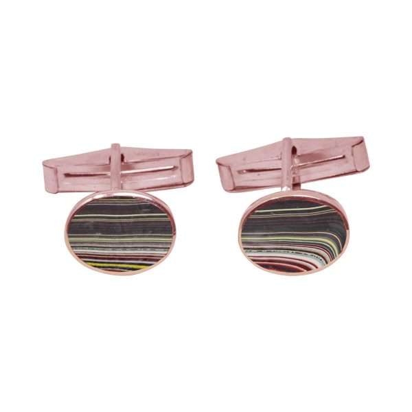 Rose Gold Fordite Oval Cufflinks