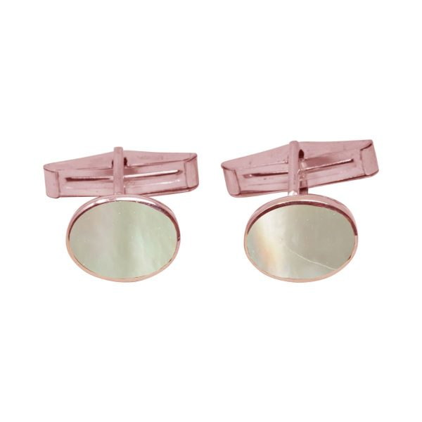 Rose Gold Mother of Pearl Oval Cufflinks