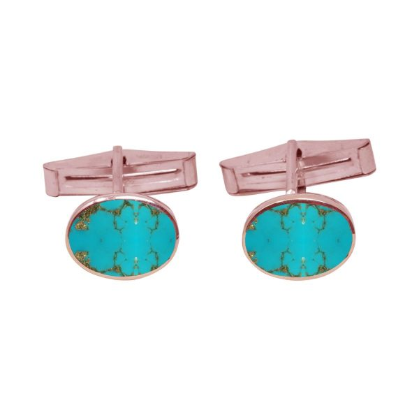 Rose Gold Turquoise Oval Cufflinks