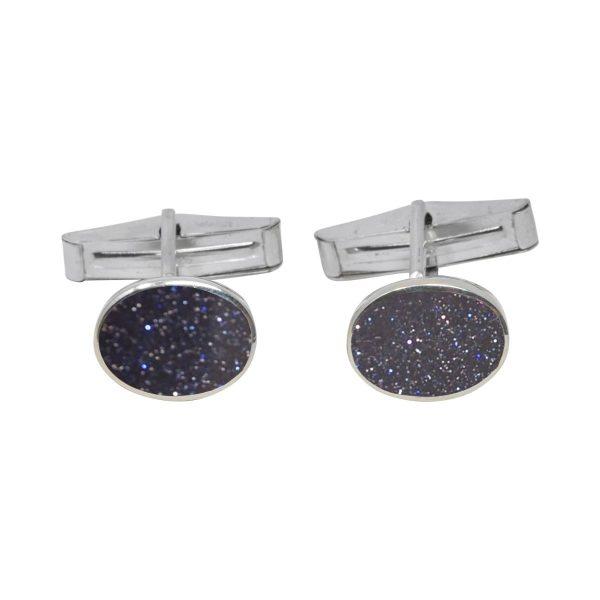 Silver Blue Goldstone Oval Cufflinks