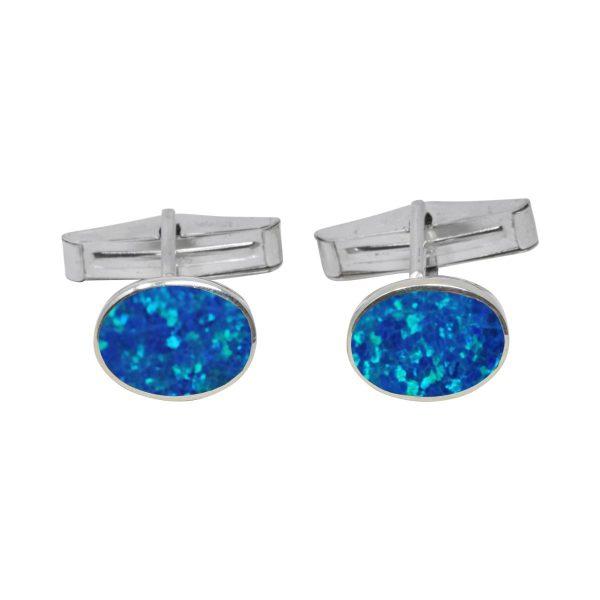 Silver Cobalt Blue Opalite Oval Cufflinks