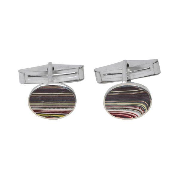 Silver Fordite Oval Cufflinks