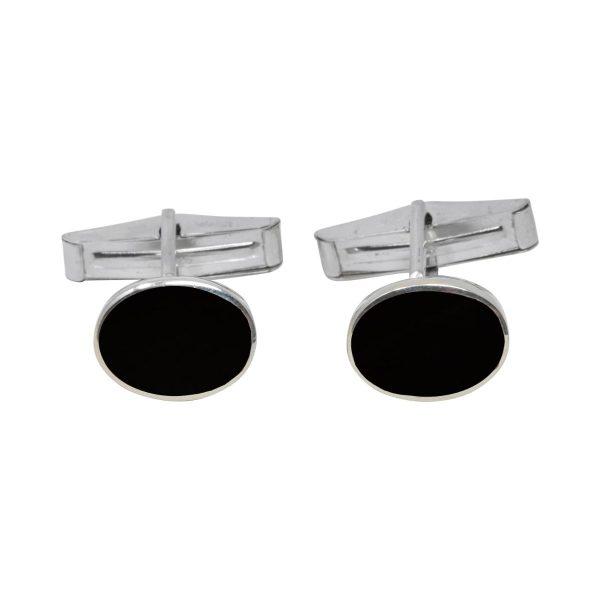 Silver Whitby Jet Oval Cufflinks
