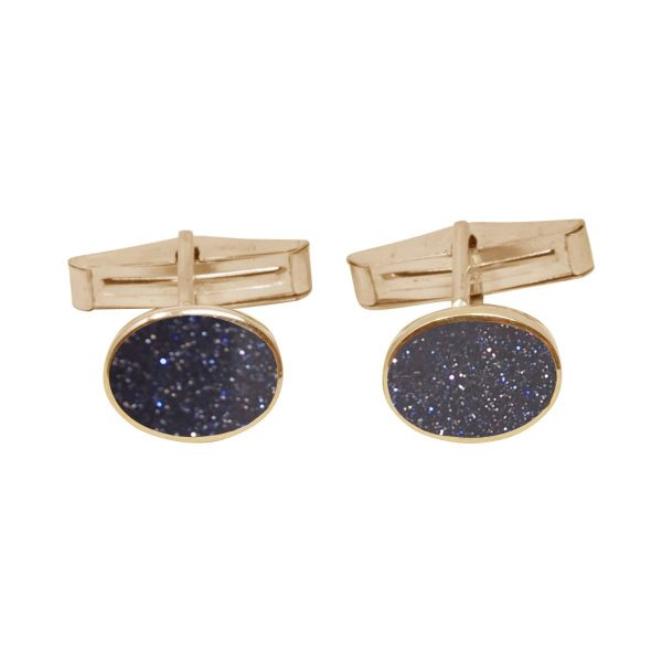 Yellow Gold Blue Goldstone Oval Cufflinks