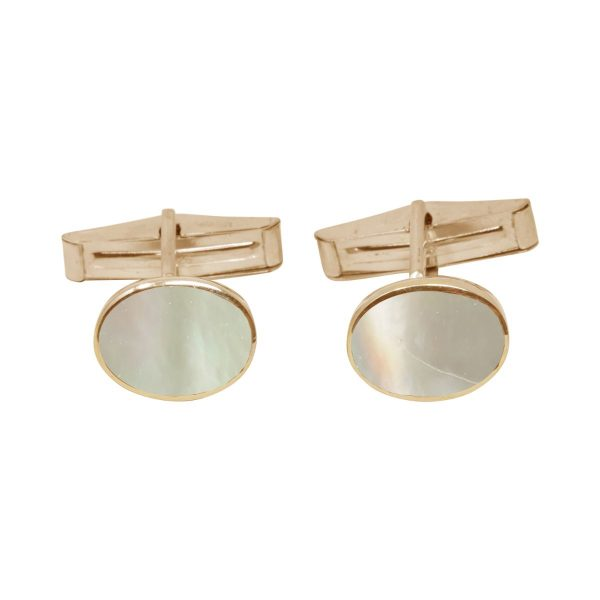 Yellow Gold Mother of Pearl Oval Cufflinks