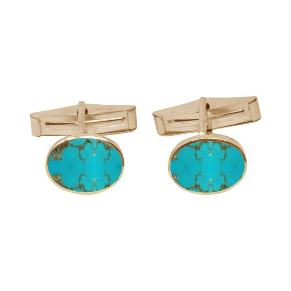 Yellow Gold Turquoise Oval Cufflinks