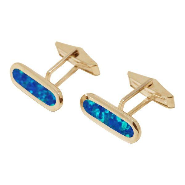 Yellow Gold Opalite Cobalt Blue Long Oval Cufflinks