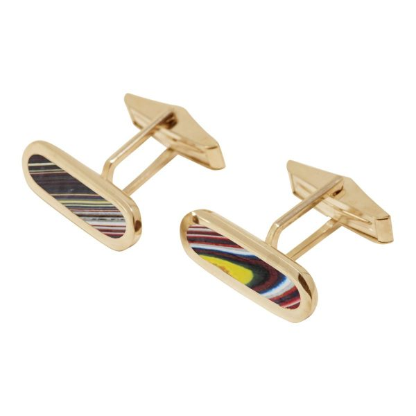 Yellow Gold Fordite Long Oval Cufflinks