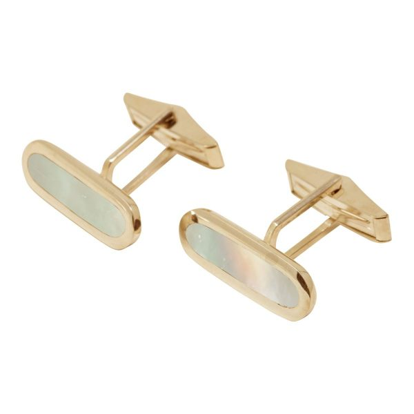 Yellow Gold Mother of Pearl Long Oval Cufflinks