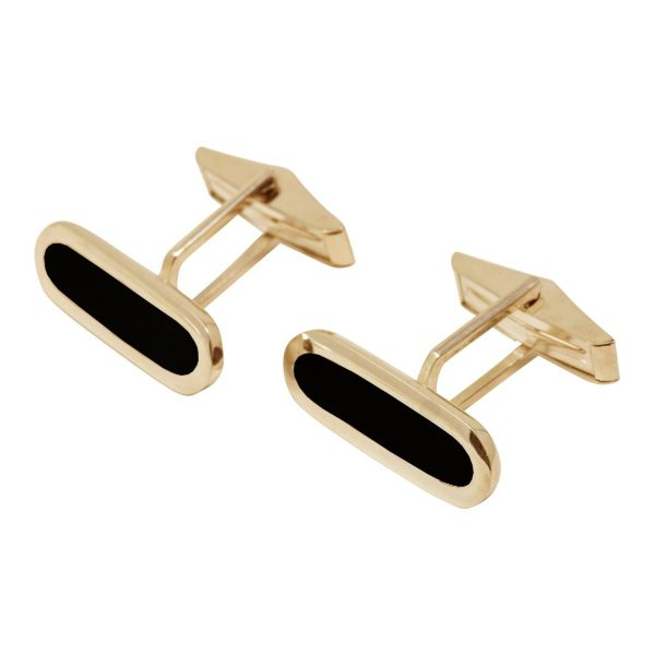 Yellow Gold Whitby Jet Long Oval Cufflinks