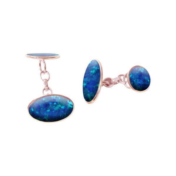 Rose Gold Cobalt Blue Opalite Oval Cufflinks