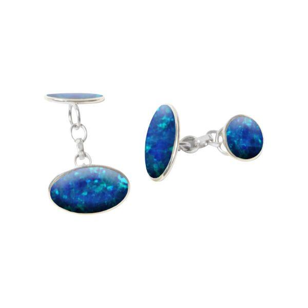 Silver Cobalt Blue Oval Cufflinks