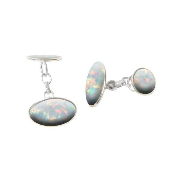 Silver Opalite Sun Ice Oval Cufflinks