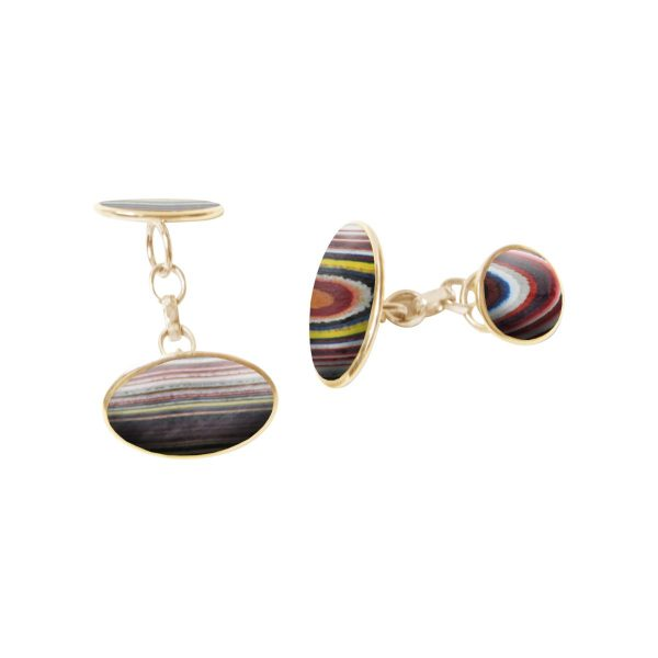 Yellow Gold Fordite Oval Cufflinks