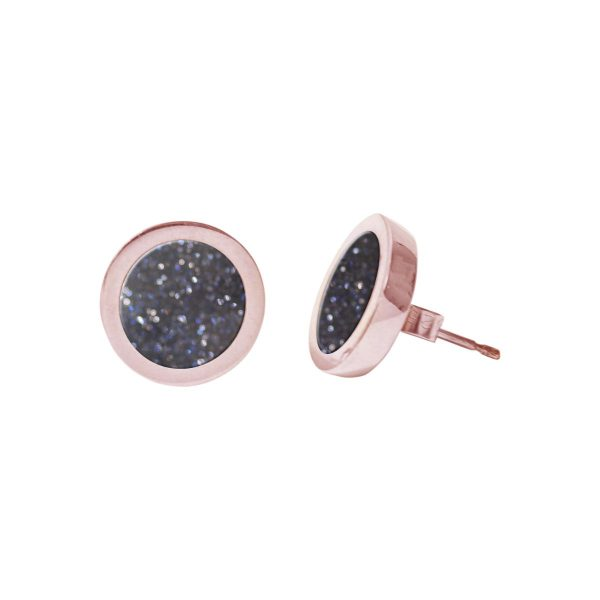 Rose Gold Blue Goldstone Round Stud Earrings