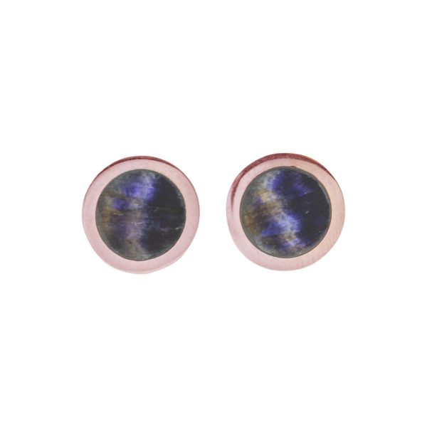 Rose Gold Blue John Round Stud Earrings