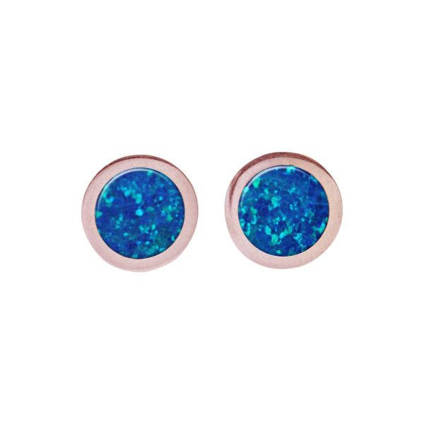 Rose Gold Opalite Cobalt Blue Round Stud Earrings