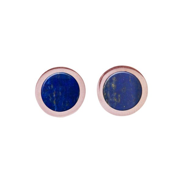 Rose Gold Lapis Round Stud Earrings