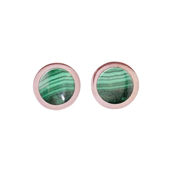 Rose Gold Malachite Round Stud Earrings