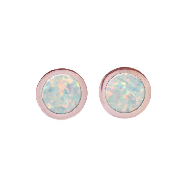 Rose Gold Opalite Round Stud Earrings