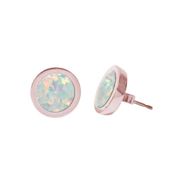 Rose Gold Opalite Sun Ice Round Stud Earrings