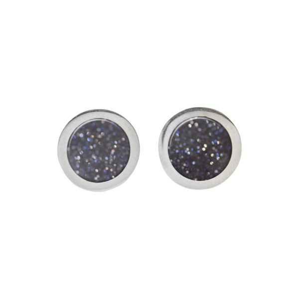 Silver Blue Goldstone Round Stud Earrings