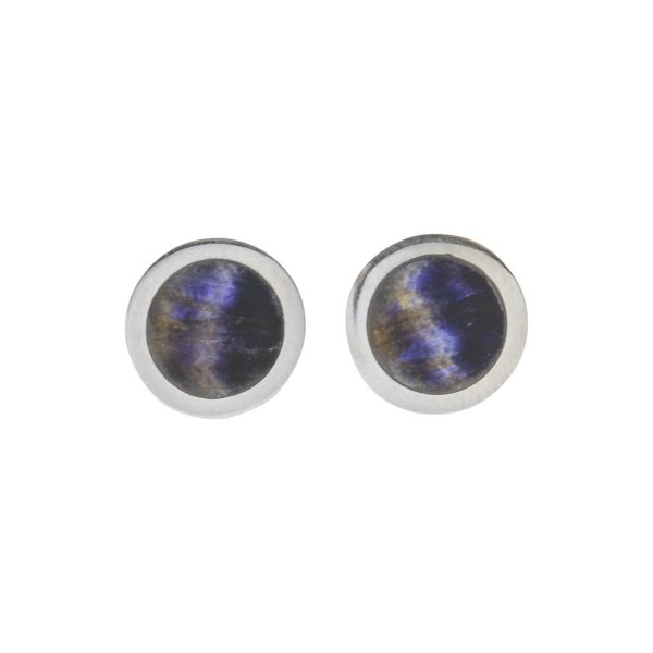 Silver Blue John Round Stud Earrings