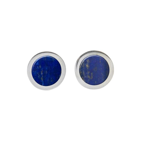 Silver Lapis Round Stud Earrings