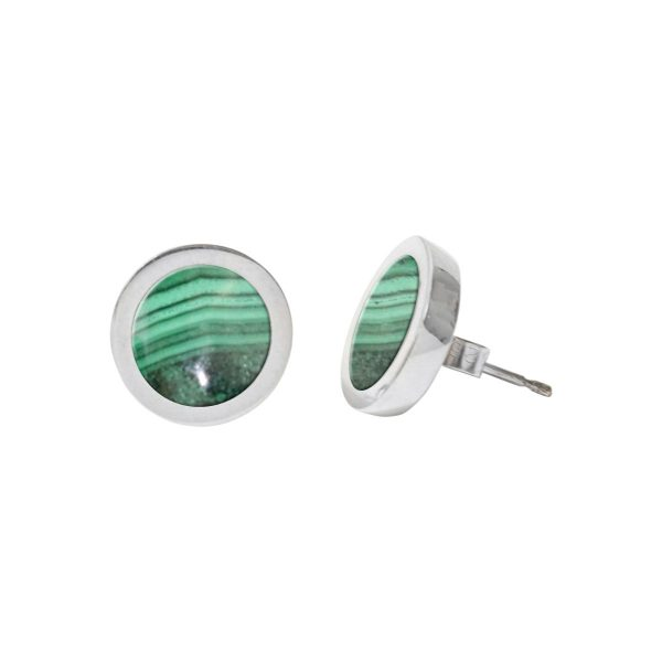 Silver Malachite Round Stud Earrings