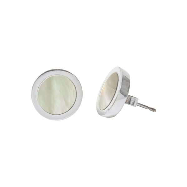 Silver Mother of Pearl Round Stud Earrings