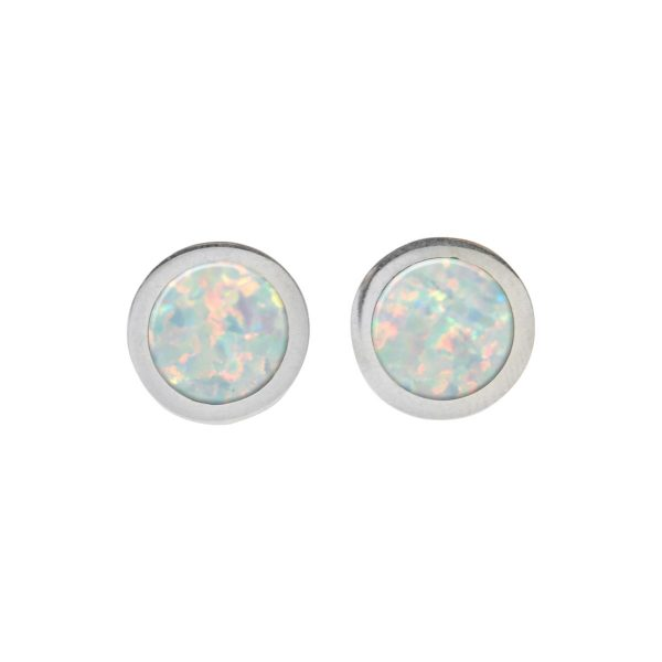 Silver Opalite Sun Ice Round Stud Earrings