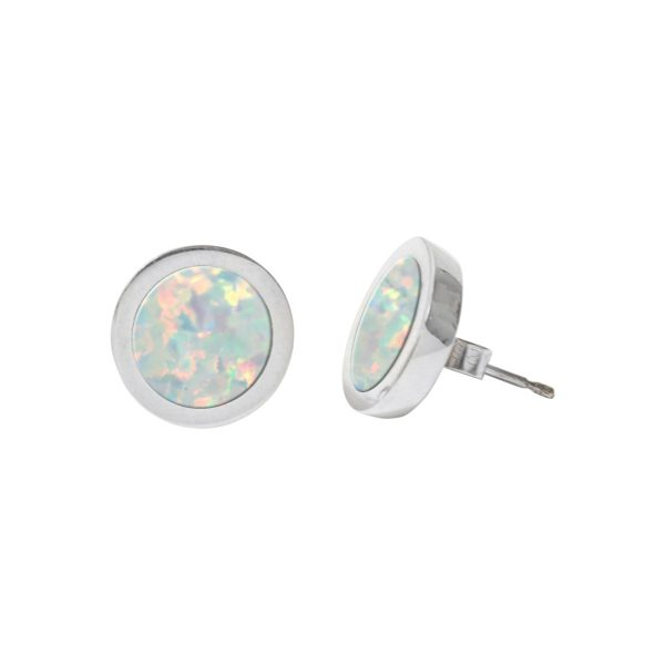 Silver Opalite Round Stud Earrings