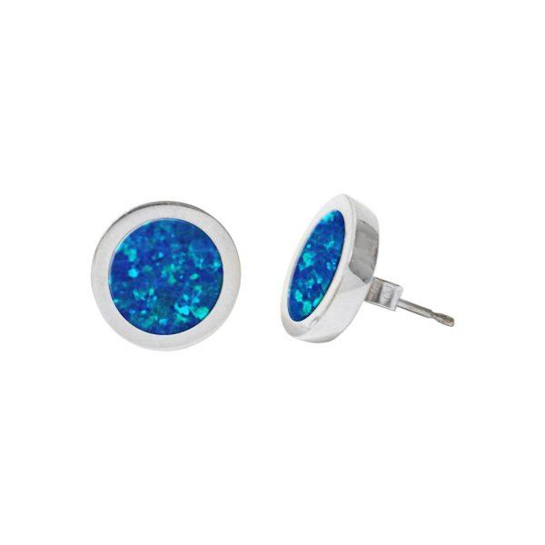 White Gold Opalite Cobalt Blue Round Stud Earrings