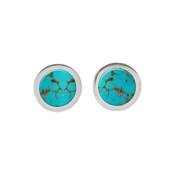 White Gold Turquoise Round Stud Earrings