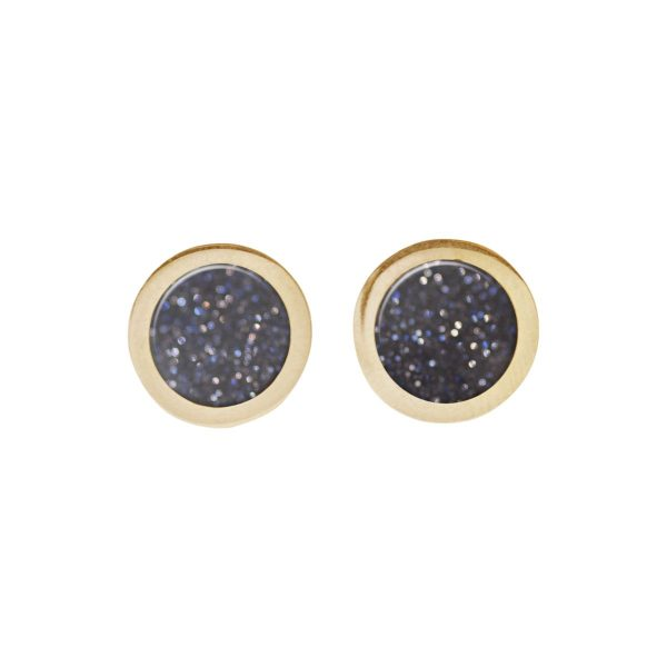 Gold Blue Goldstone Round Stud Earrings