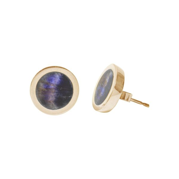 Gold Blue John Round Stud Earrings