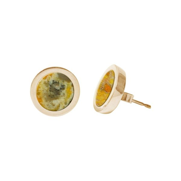 Gold Bumblebee Jasper Round Stud Earrings